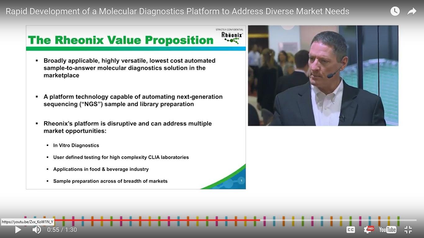 Rheonix presents molecular diagnostics (MDx) applications across multiple markets.