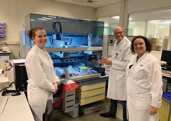 Lieke Donders (left), Jeroen van de Bovenkamp (center) and Inge Briels are reaping the benefits of automated genomics workflows
